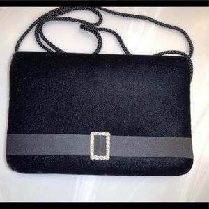 Vintage Hillard Hanson Black Velvet Formal Clutch